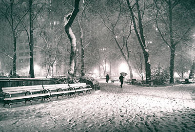 Winter Night - New York City - Madison Square Park Poster by Vivienne Gucwa