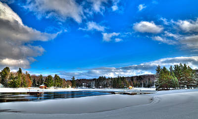 Winter On Old Forge Pond Poster by David Patterson