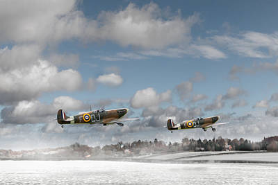 Winter Ops Spitfires Poster by Gary Eason