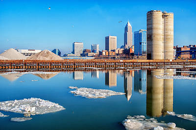 Winter Reflections Of Cleveland Ohio Poster
