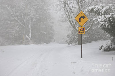 Winter Road With Yellow Sign Poster