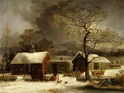 Winter Scene In New Haven Connecticut 1858 By Durrie Poster