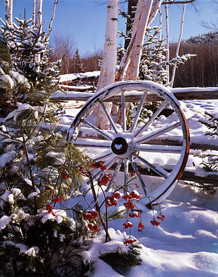 Winter Scenic Wagon Wheel Leaning Poster