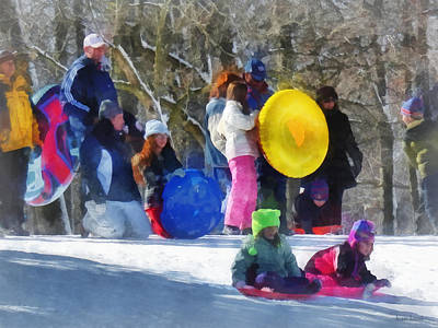 Winter - Sledding In The Park Poster by Susan Savad