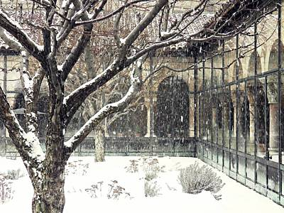 Winter Storm At The Cloisters 3 Poster by Sarah Loft