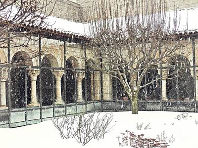 Winter Storm At The Cloisters 4 Poster by Sarah Loft