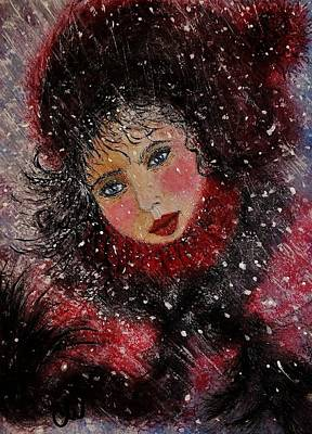 Poster featuring the painting Winter Story... by Cristina Mihailescu