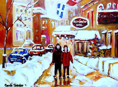 Winter Stroll Ritz Carlton Art Classic Montreal Paintings By Street Scene Specialist Carole Span Poster by Carole Spandau