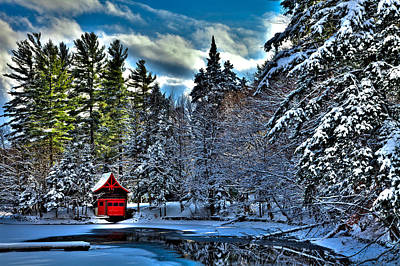 Winter Sun On The Red Boathouse Poster by David Patterson