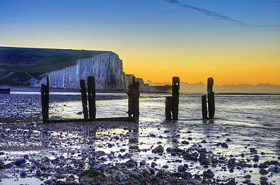Winter Sunrise At Low Tide At Seven Sisters Cliffs Poster by Matthew Gibson