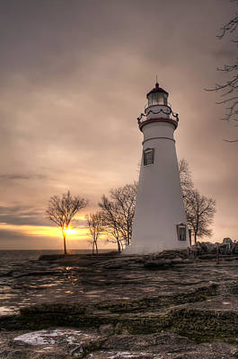 Winter Sunrise At Marblehead Lighthouse - Portrait Poster