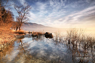 Winter Sunrise Over Lake In North Italy Poster