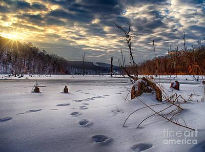 Winter Sunrise Over Monksville Poster by Mark Miller