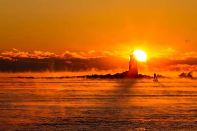 Winter Sunrise Whaleback Light Poster by Jeff Sinon