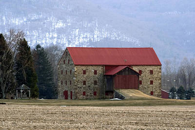 Poster featuring the photograph Winter Sunset  At The Old Snyder Stone Barn by Gene Walls