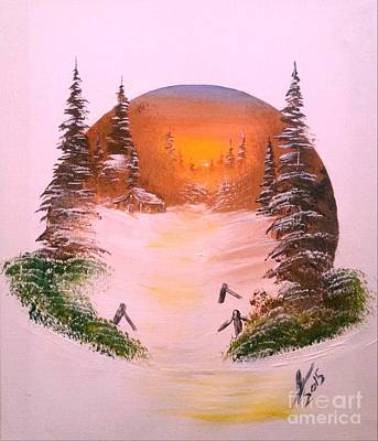 Winter Sunset In A Circle Poster