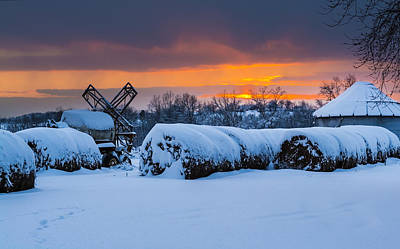 Winter Sunset On The Farm Poster