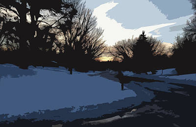 Poster featuring the digital art Winter Sunset by Kirt Tisdale