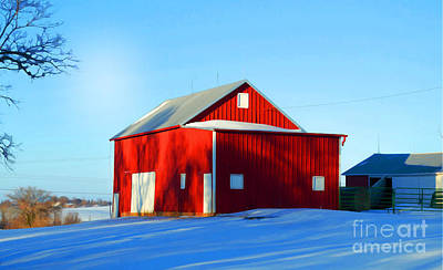 Winter Time Barn In Snow Poster by Luther Fine Art