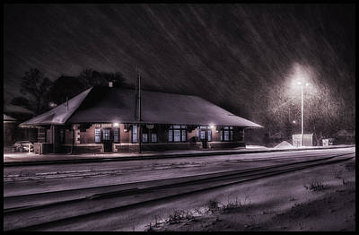 Winter Train Station  Poster