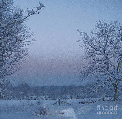 Winter Trees On West Michigan Farm At Sunrise Poster
