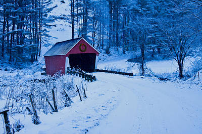 winter Vermont covered bridge Poster