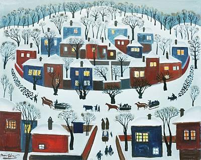 Winter Village, 1969 Poster by Radi Nedelchev