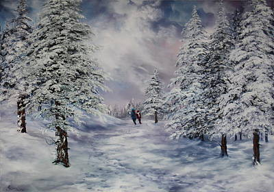 Poster featuring the painting Winter Walk On Cannock Chase by Jean Walker