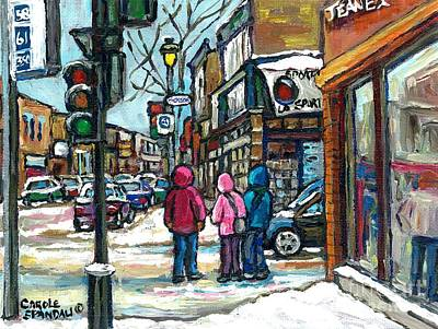Winter Walk Snowy Day Rue Wellington Verdun Street Scene Paintings Montreal Urban Landscape Cspandau Poster by Carole Spandau