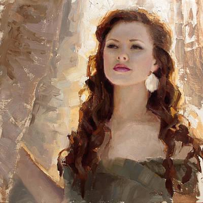 Winter Warmth - Impressionistic Portrait Poster