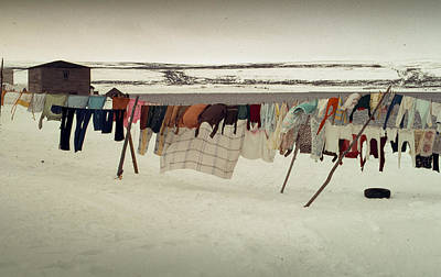 Winter Wash Day Labrador Poster