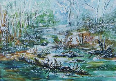Poster featuring the painting Winter Whispers On Catskill Creek by Ellen Levinson