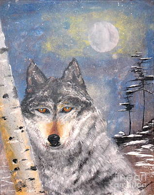 Poster featuring the painting Winter Wolf by Denise Tomasura