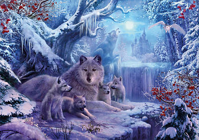 Winter Wolves Poster by Jan Patrik Krasny
