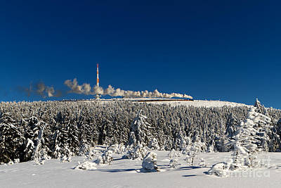 Winterly Brocken Mountain With Stream Train Poster by Christian Spiller
