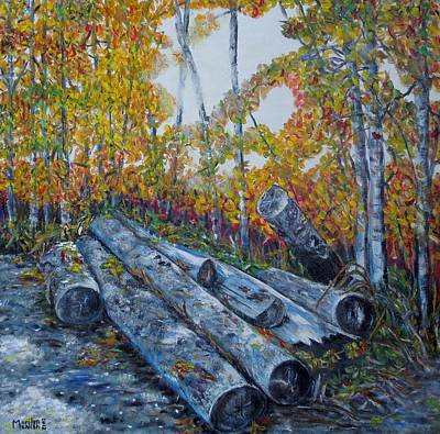 Poster featuring the painting Winter's Firewood by Marilyn  McNish