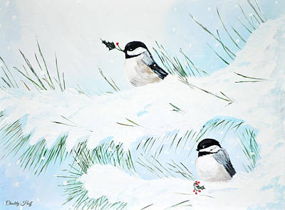 Chickadees  Poster by Chastity Hoff