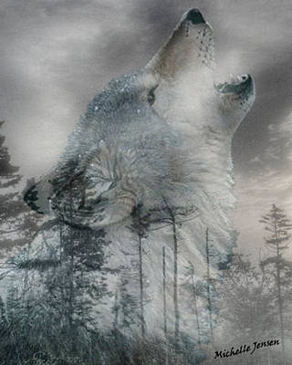 Wintery Howling Wolf Poster by Wishes and Whims Originals By Michelle Jensen