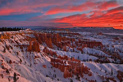 Wintry Sunrise At Bryce Canyon Poster