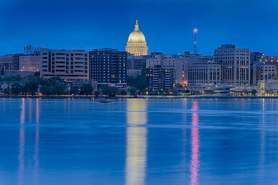 Poster featuring the photograph Wisconsin Capitol Reflection by Sebastian Musial