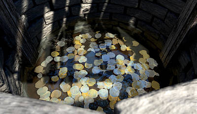 Wishing Well With Coins Perspective Poster