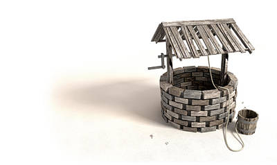 Wishing Well With Wooden Bucket And Rope Poster