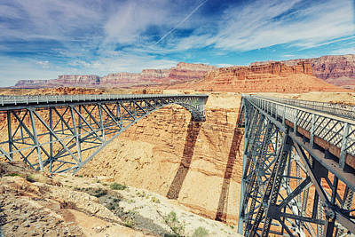 Wispy Clouds Over Navajo Bridge North Rim Grand Canyon Colorado River Poster by Silvio Ligutti