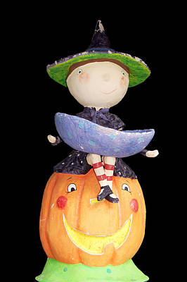 Witch And Pumpkin  Poster by Aimee L Maher Photography and Art Visit ALMGallerydotcom