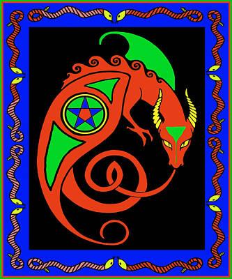 Poster featuring the digital art Witches Dragon by Vagabond Folk Art - Virginia Vivier