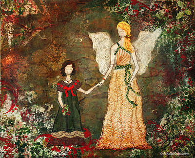 With The Angels Christmas Mixed Media Folk Art Painting Poster by Janelle Nichol