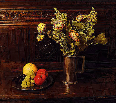 Withered Flowers And Fresh Fruit     Poster by Gilberte Crets