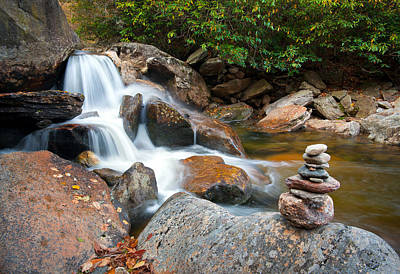 Wnc Flowing Zen Waterfalls Landscape - Harmony Waterfall Poster by Dave Allen