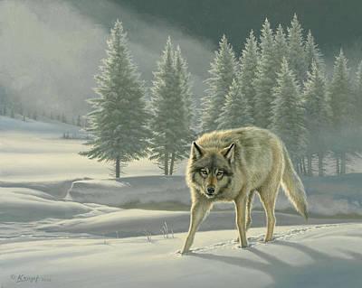 Wolf In Fog    Poster by Paul Krapf
