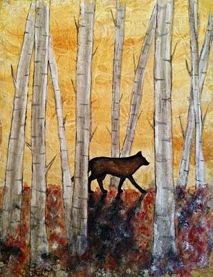 Wolf In The Birch Trees Poster by Laura Heilman